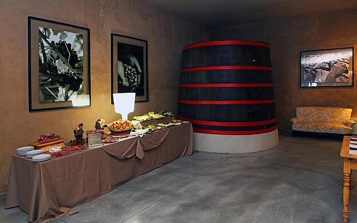 A wedding buffet in the winery