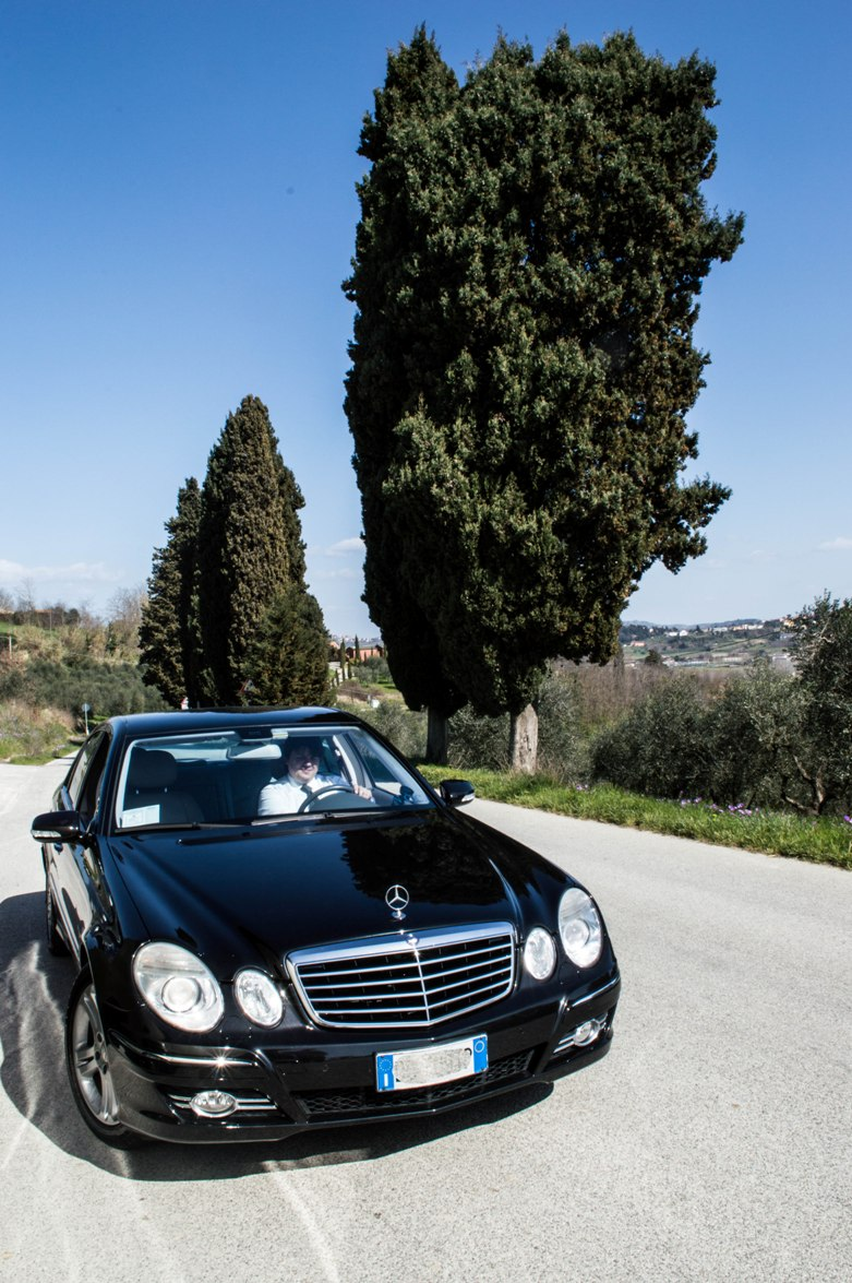 Elegant car along enchanting routes