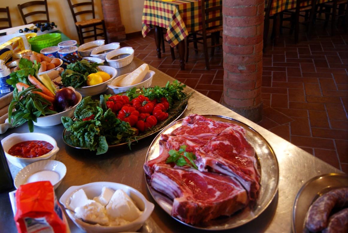 Fresh vegetables and steaks