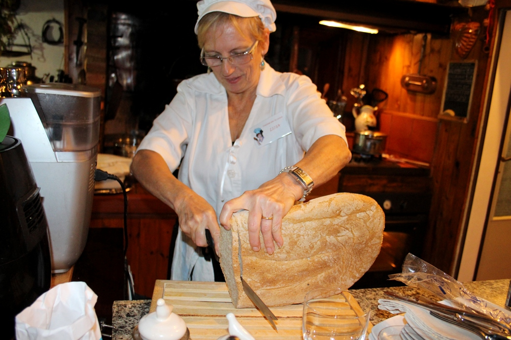Licia slicing bread