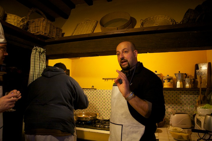 Massimo instructing on how to make soffritto