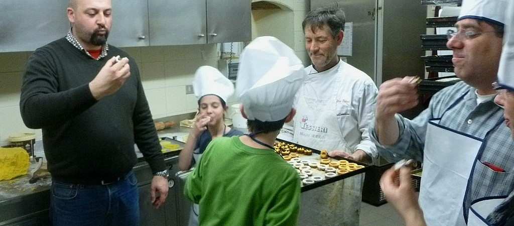 Tasting the cookies during a pastry making class