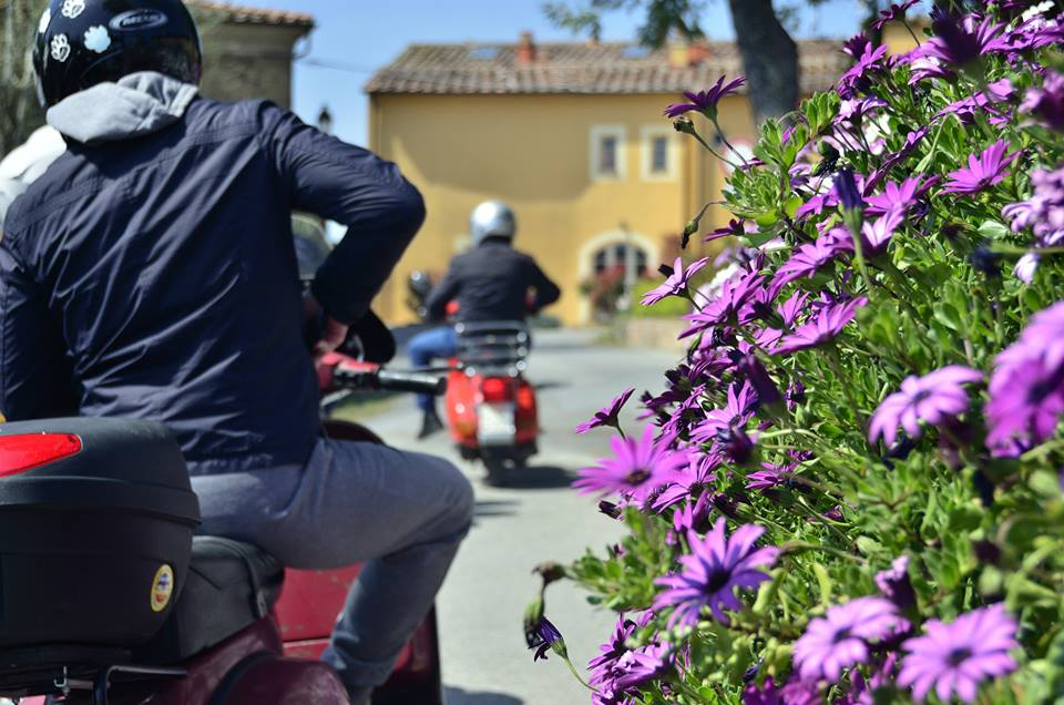 Vespa routes to villages full of flowers