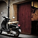 A vespa in the medieval village of Peccioli