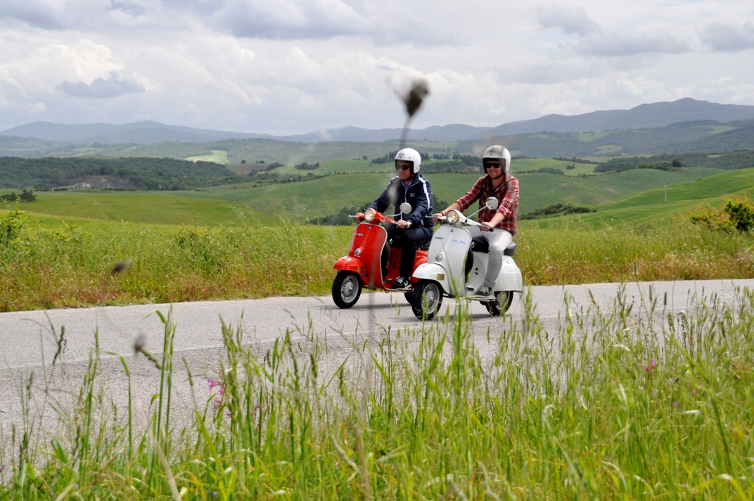 On vespa among rolling hills