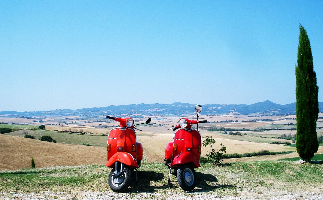 Red vespas and Tuscany