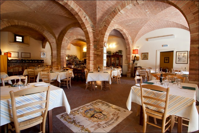 Charming tile vaulted restaurant in a medieval village in Tuscany