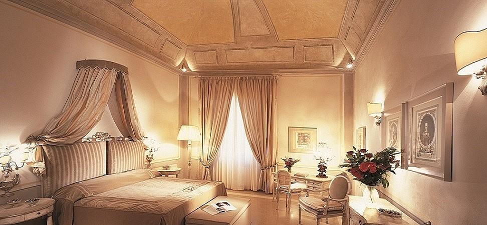 Elegant bedrooms in five star hotel in Italy