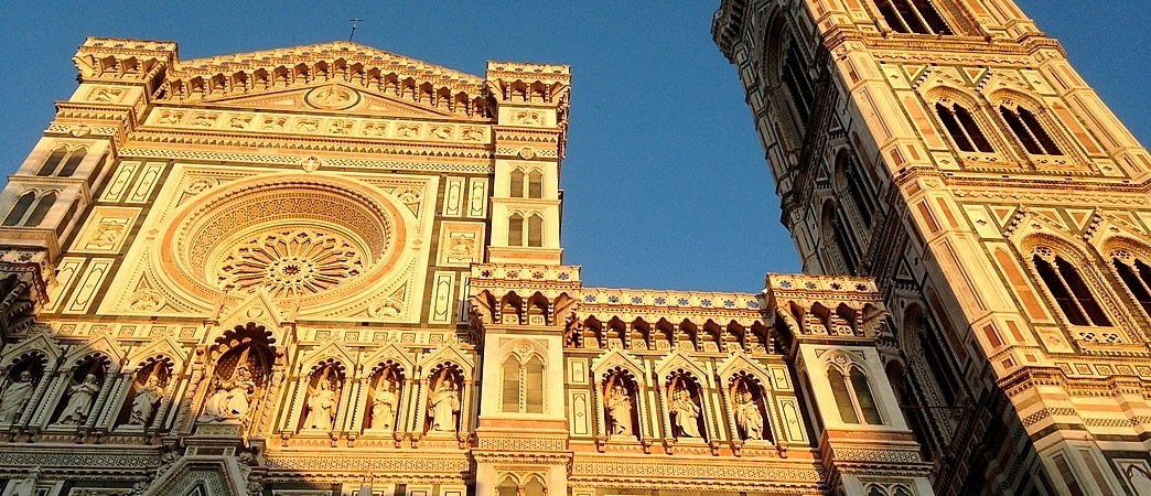 Facade and bell tower of the cathedral in Florence