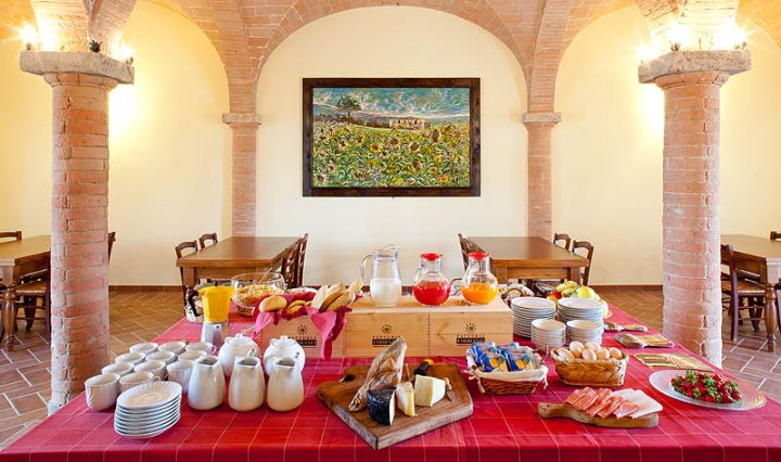 Breakfast buffet at a Tuscan wine farm with accommodation