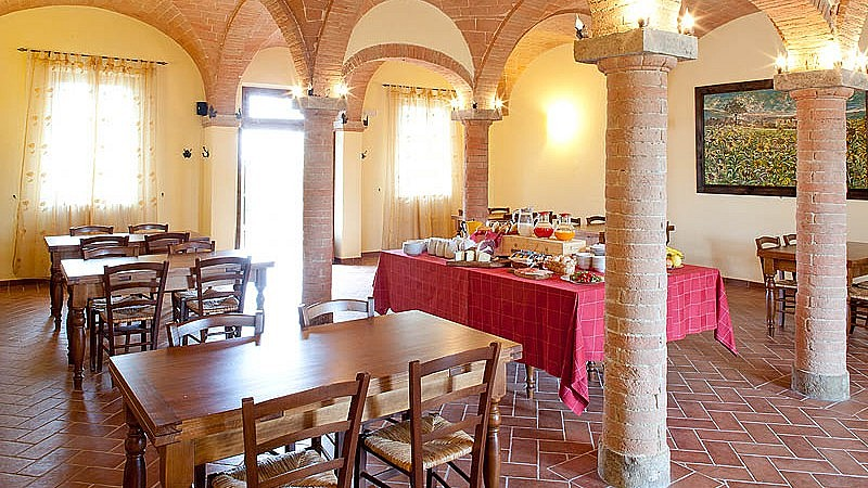 Breakfast room at a Tuscan agriturismo