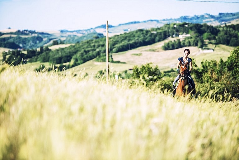 Horse riding in a wheat field of Tuscany
