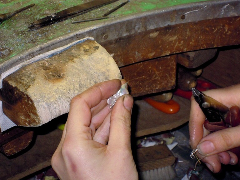 Experienced hands making jewels