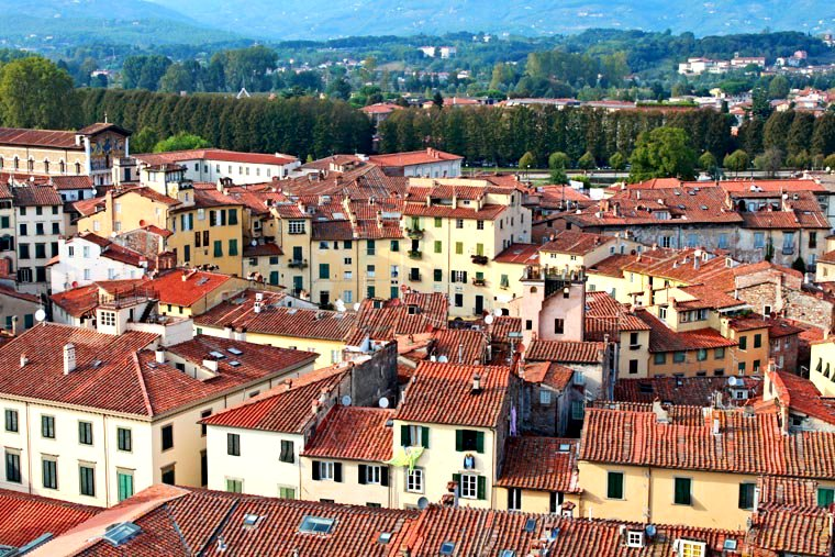 Panoramic view over Piazza Anfiteatro in Lucca