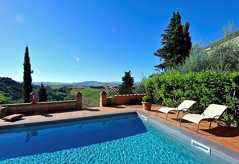 Panorama from the pool in private villa for 10 people