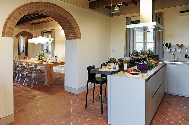 Kitchen and dining room at a small villa for 8 people