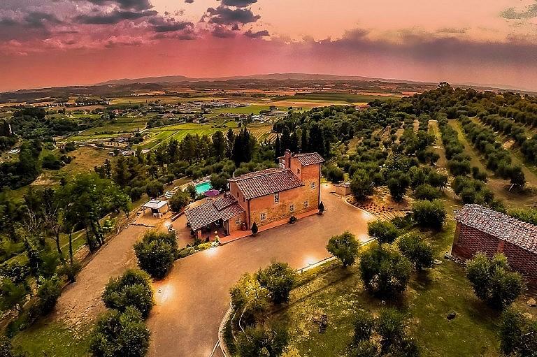 Stunning sunset at hilltop fabulous villa