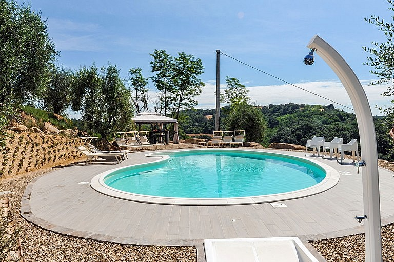 Pool with gazebo and shower in Tuscan olive grove