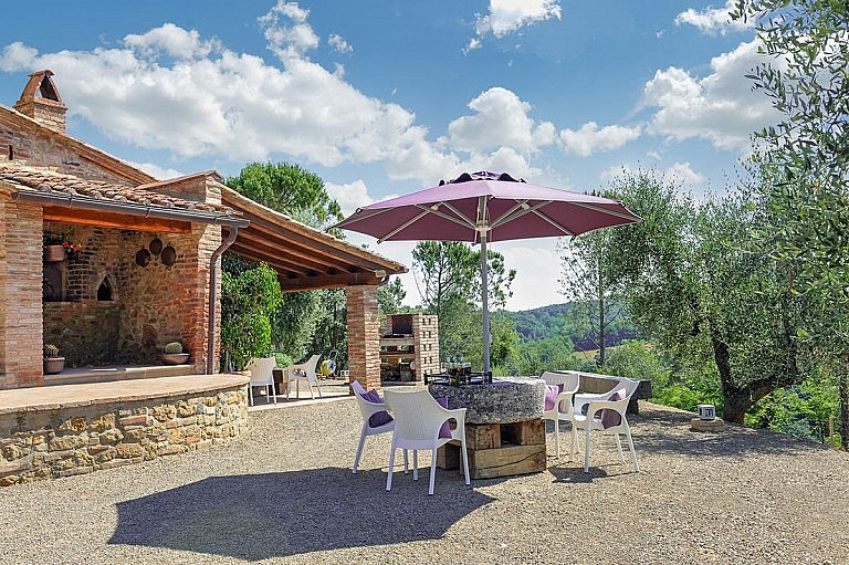 Wood oven and barbecue for relaxation in the garden of a mini villa for 8 people