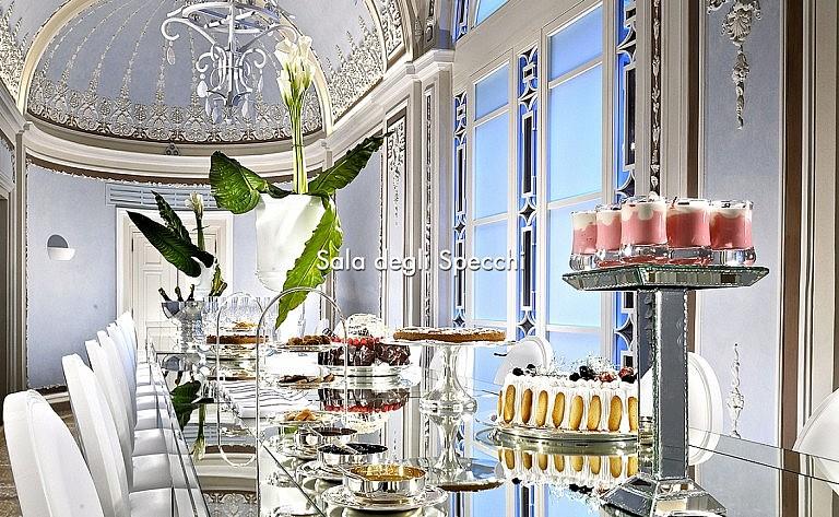 Hall of mirrors as multiple task room in luxury hotel