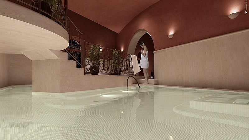 Internal pools in a small wellness center