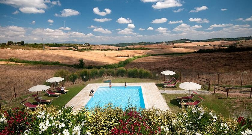 Wheat fields of June surrounding pool