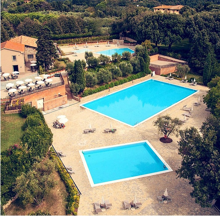 Pools and spa center of an extensive golf resort in Tuscany