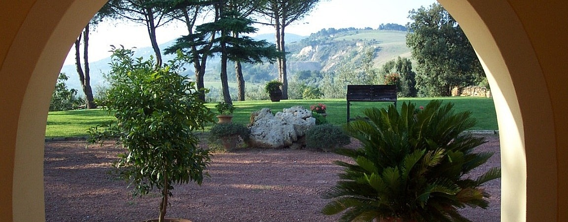 Veranda overlooking the garden of a Tuscan agriturismo
