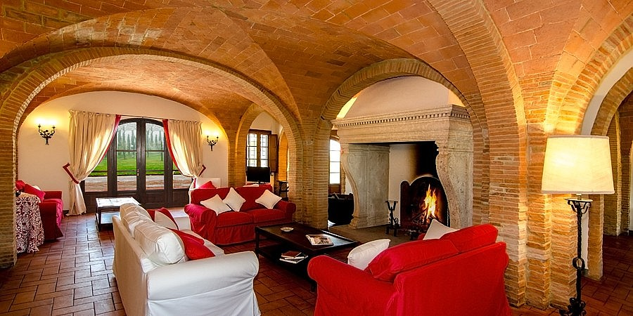 Charming living room with fireplace and vaulted ceiling