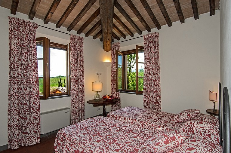 Colorful twin bedroom in Tuscan cottage