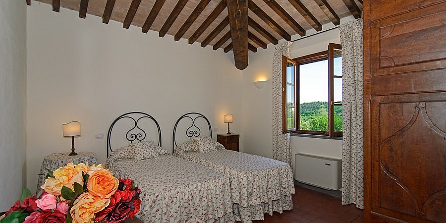 Beautiful bedroom with wine grapes view