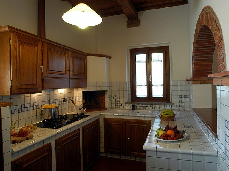 Kitchen with barbecue in country apartment