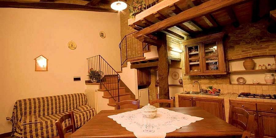 Kitchenette in affordable units of a Tuscan farmstay