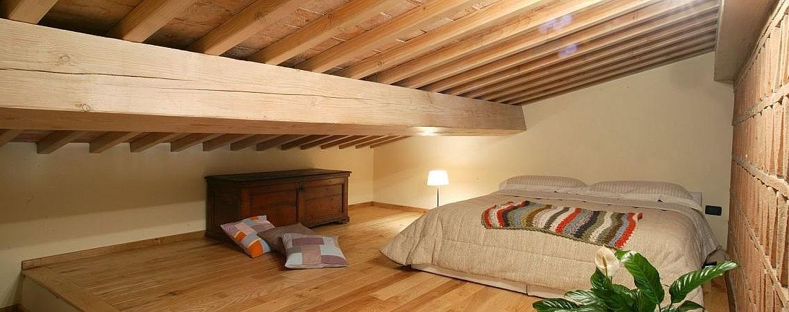 Relaxing bedroom in farmhouse loft