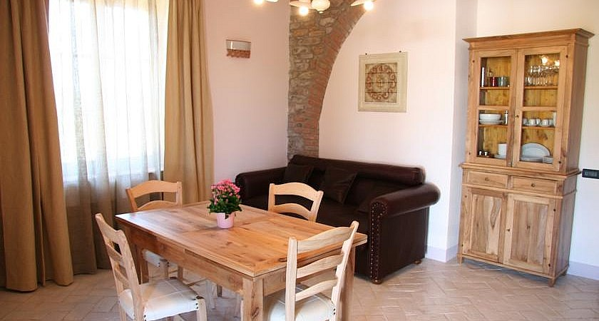 Living & dining room in apartment by the sea