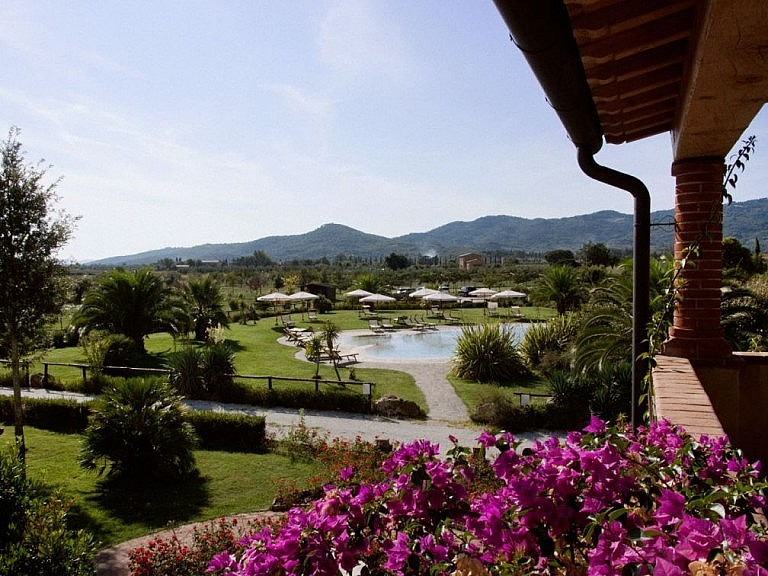 Veranda with spectacular view in the best agriturismo near the coast of Tuscany