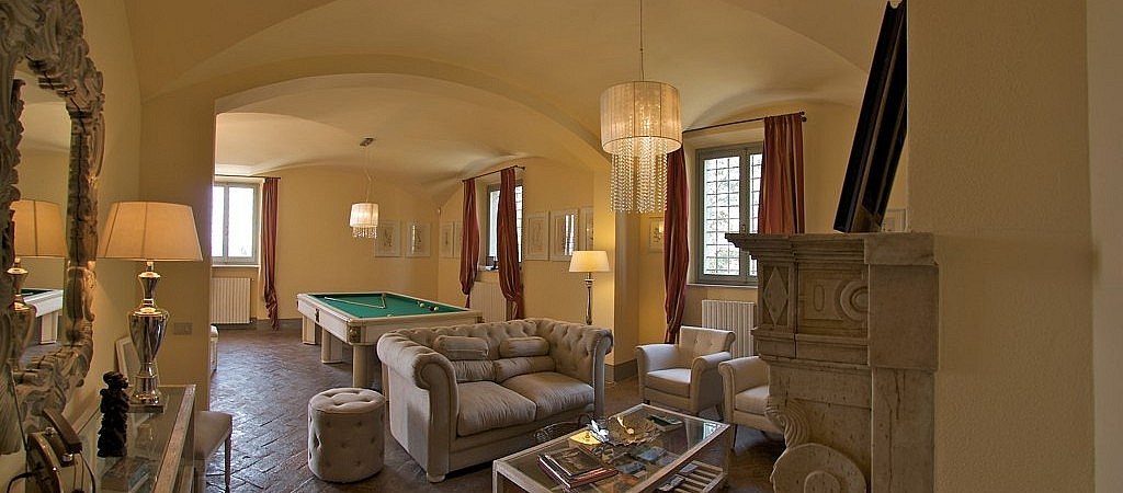 Sitting room with billiards in authentic Tuscan villa
