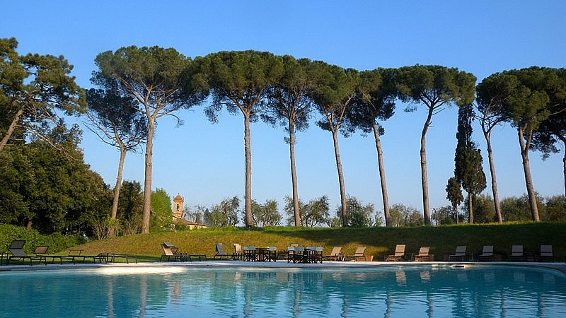 Main pool adorned with tall pine trees