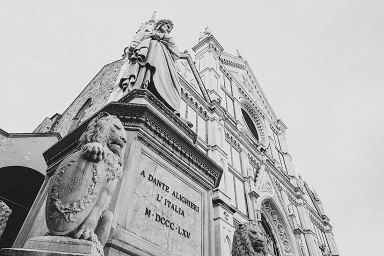 Dante's statue in Santa Croce in Florence