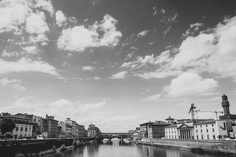 Lungarni in Florence in black & white picture