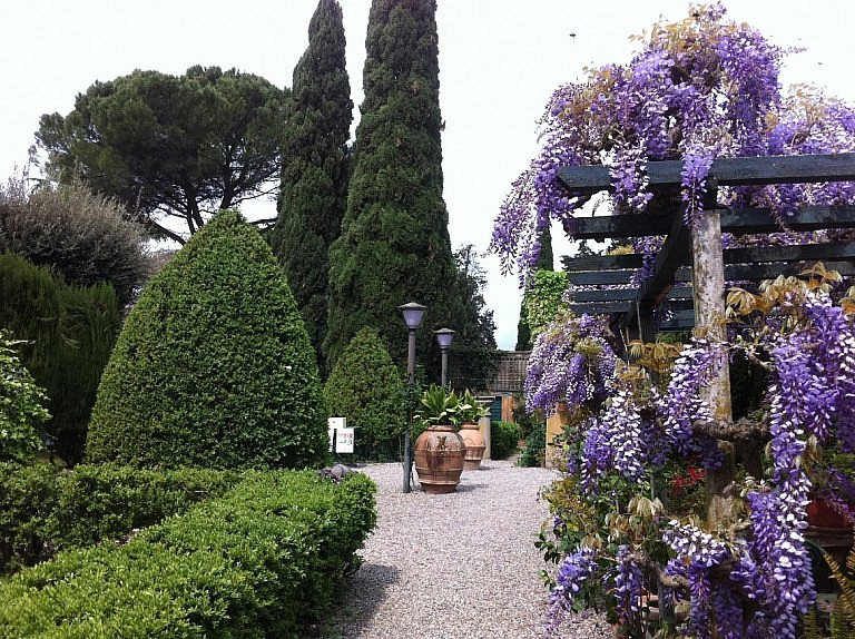 Historical garden of a noble villa in the Pisan hills
