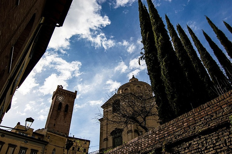 The church and the bell tower of San Miniato from a charming perspective