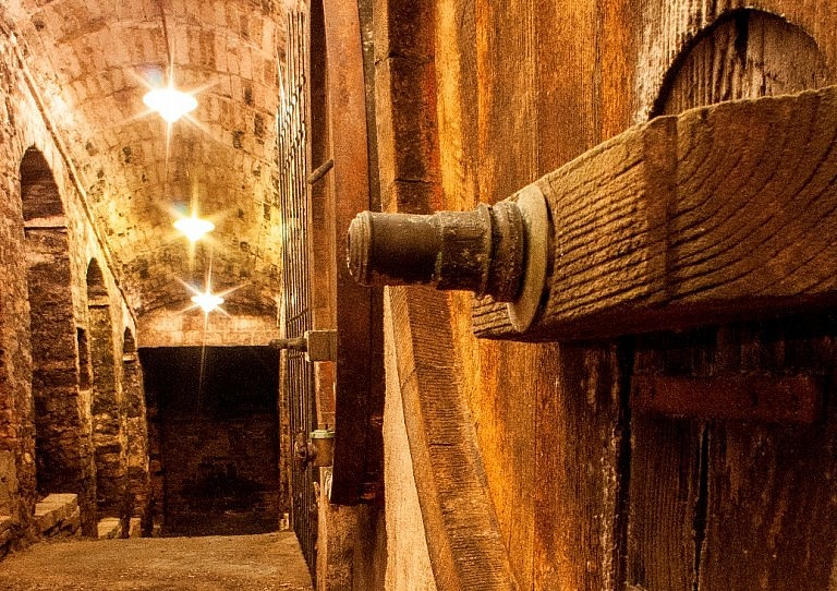 Ancient barrel room in Tuscan historical winery