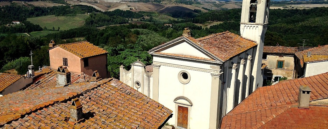 The church of Ghizzano as seen from the tower of the villa