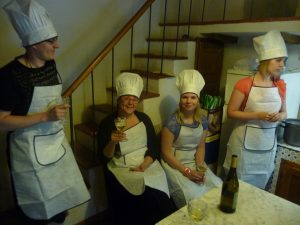 A toast during the cookery class