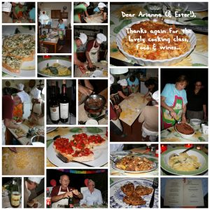 A patchwork of images of our cookery lesson