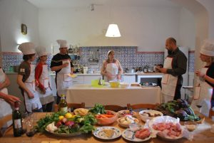 Massimo and Ester at a private villa ready for a cooking class