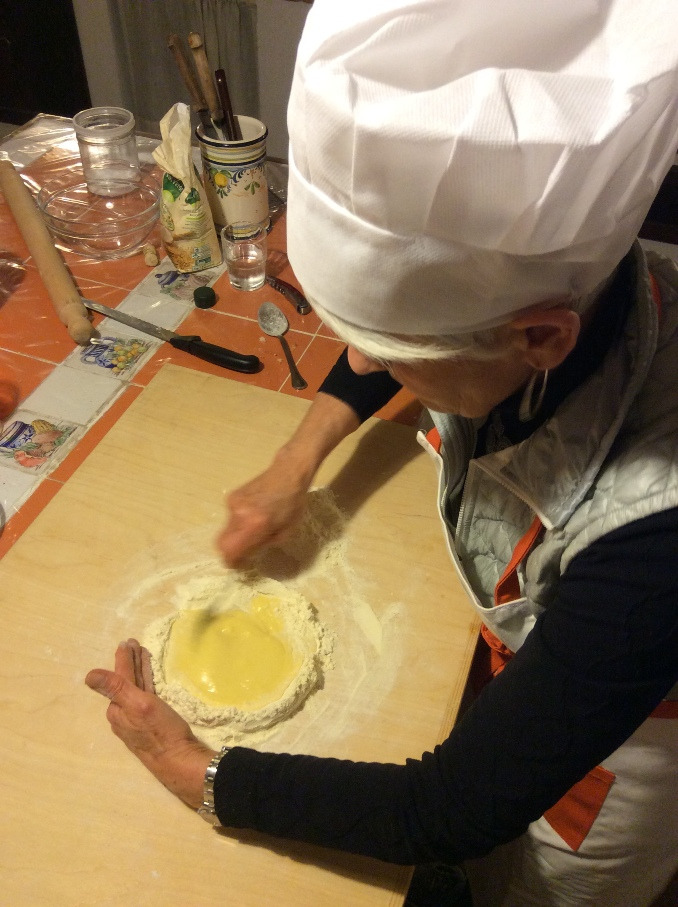 Mixing flour and eggs