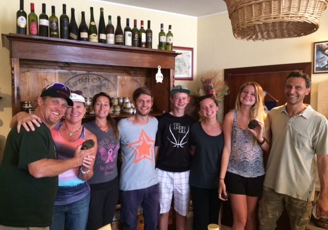 Luca, Riccardo, Monica and a family of American visitors
