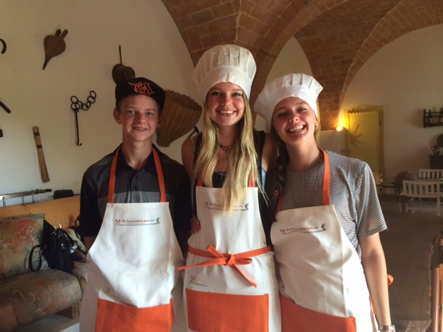 Teenagers fun at a cooking class
